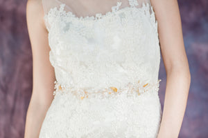 Gold Wired Crystal Pearl and Flower Bridal Dress Belt - Handmade in Toronto Ontario Canada - Blair Nadeau Bridal Adornments - Whitney Heard Photography