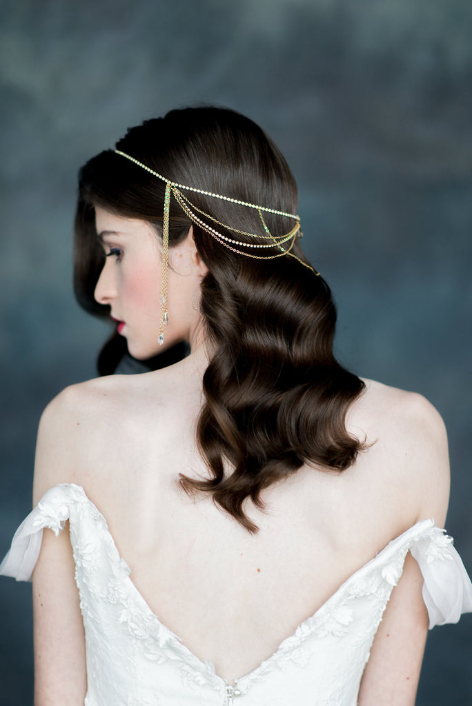Gold Crystal Draped Chain Hair Jewelry - Handmade in Toronto - Blair Nadeau Millinery - Whitney Heard Photography
