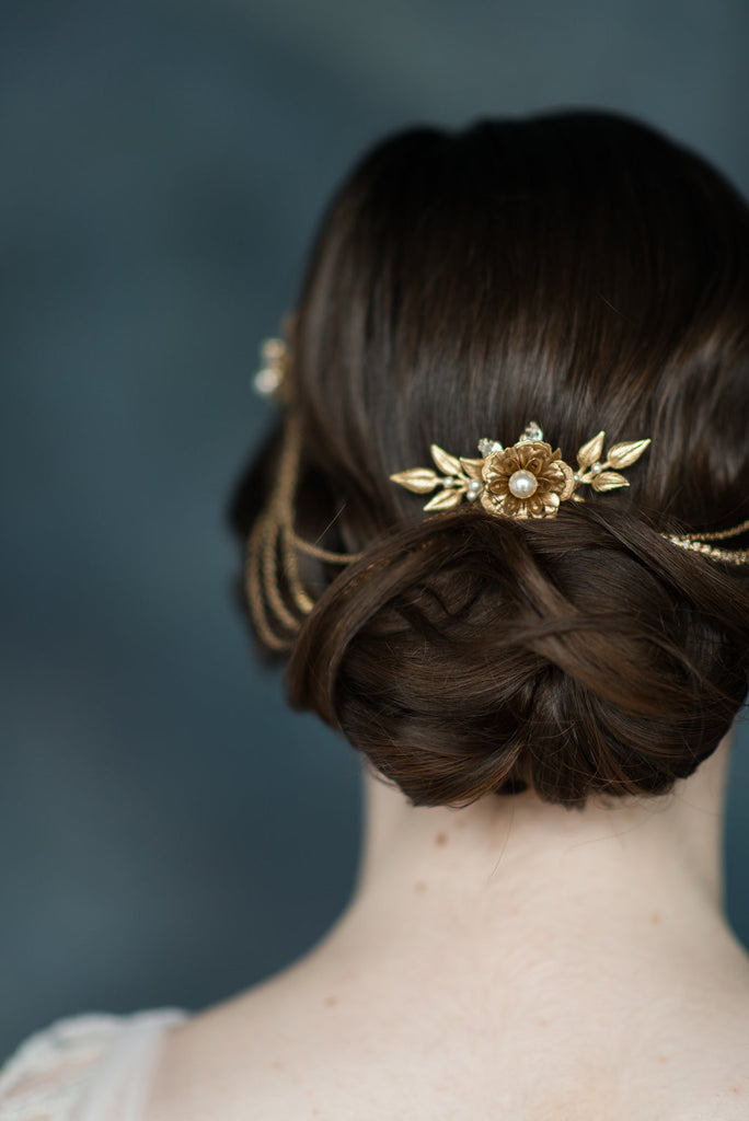 Golden Brass Flower Crystal Pearl Hair Chain - handmade in Toronto - Blair Nadeau Millinery - Whitney Heard Photography