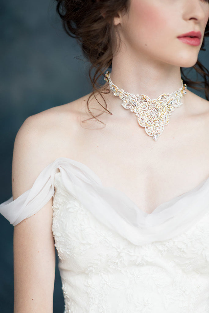 Gold Crystal Lace Bridal Statement Necklace Choker - Made in Toronto Canada - Blair Nadeau Millinery - Whitney Heard Photography