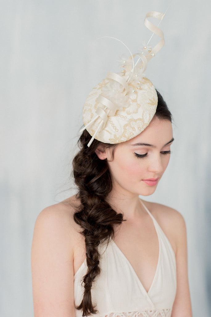 Gold & Ivory Lace Bridal Fascinator - Handmade in Toronto - Blair Nadeau Millinery - Whitney Heard Photography