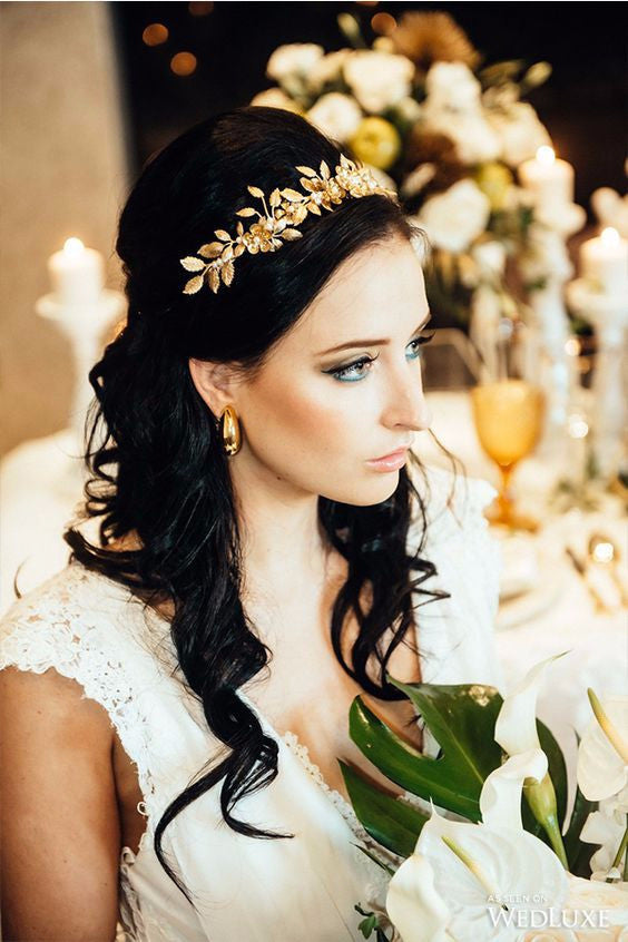 Gold & ivory pearl laurel leaf crown handmade in Toronto Canada by Blair Nadeau Millinery - Eric K. Choi Photography