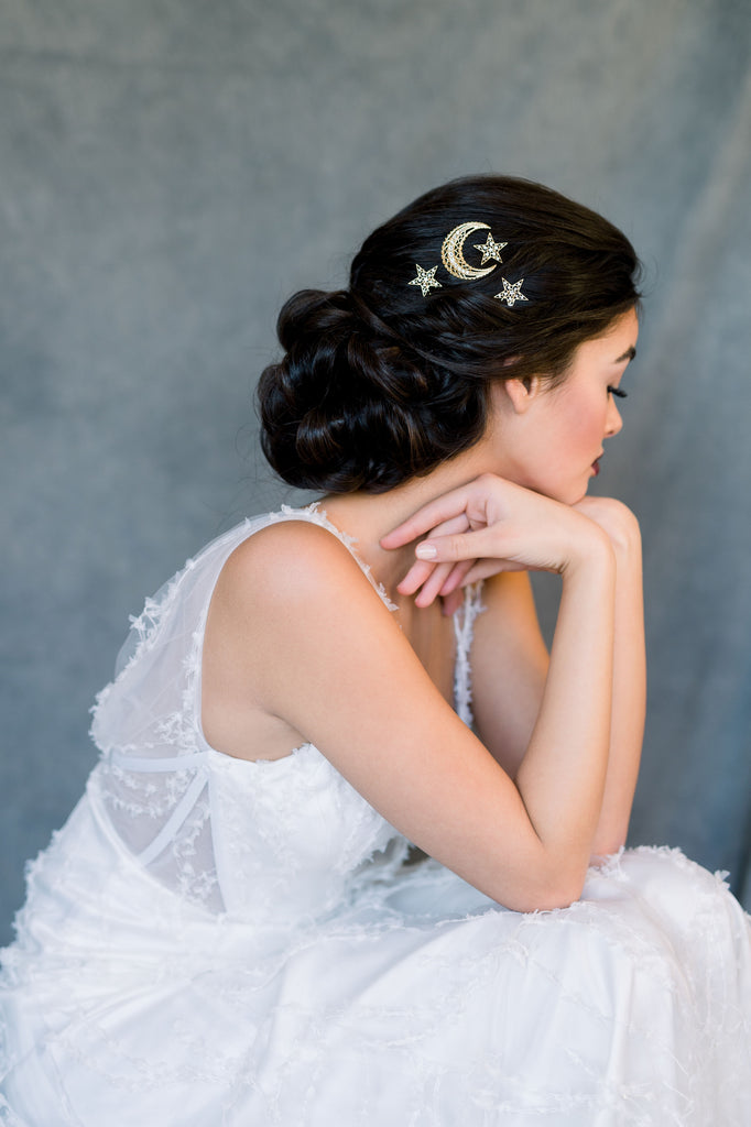 Gold Starburst Celestial Moon & Star Bridal Hair Pin Set - Handmade in Toronto Ontario Canada - Blair Nadeau Bridal - Whitney Heard Photography