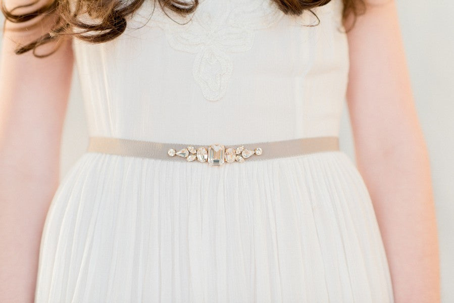 MABEL Crystal Wedding Dress Belt  (More Colours & Lengths)