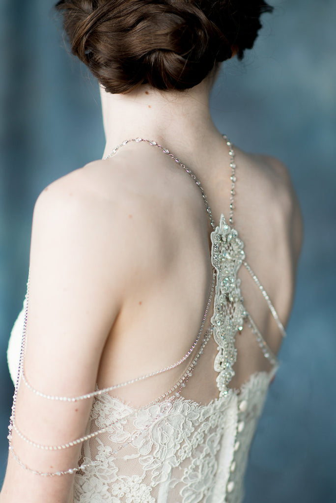 Ivory Crystal Beaded Shoulder Necklace Back Necklace - Handmade in Toronto - Blair Nadeau Millinery - Whitney Heard Photography