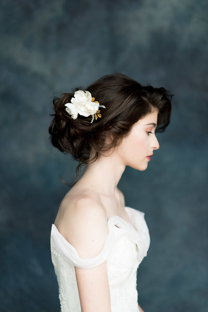 Ivory Silk Flower Gold Leaf Bridal Hair Comb - Made in Toronto - Blair Nadeau Millinery - Whitney Heard Photography