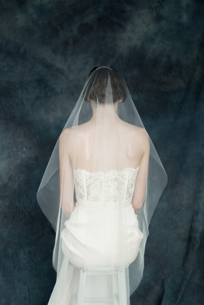 Single Tier Simple Tulle Bridal Veil - Made in Toronto Canada - Blair Nadeau Millinery - Whitney Heard Photography