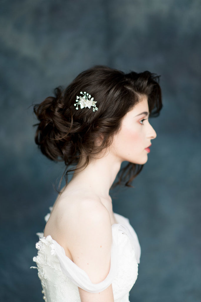 Ivory Flower Bridal Hair Comb. Pearl & Crystal Details -  Handmade in Toronto Canada - By Blair Nadeau Millinery - Whitney Heard Photography