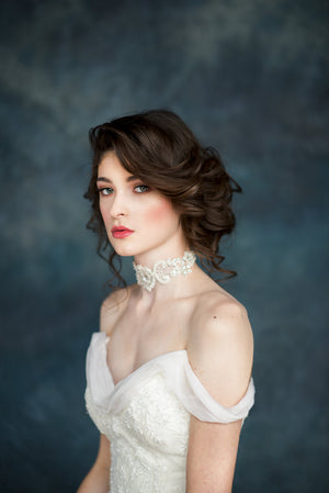 Ivory Lace Crystal Beaded Choker Bridal Necklace - Handmade in Toronto - Blair Nadeau Millinery - Whitney Heard Photography