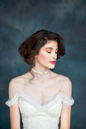 Ivory Crystal Beaded Velvet Bridal Choker - Handmade in Toronto Canada - Blair Nadeau Millinery - Whitney Heard Photography