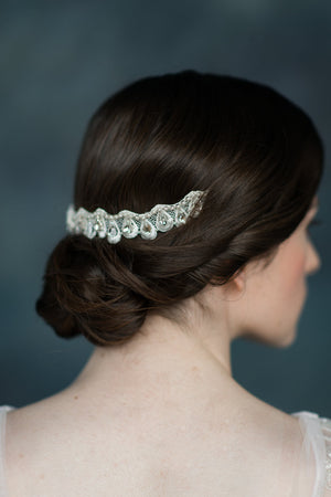 Ivory Crystal Beaded Teardrop Lace Hair Vine - Handmade in Toronto - Blair Nadeau Millinery - Whitney Heard Photography