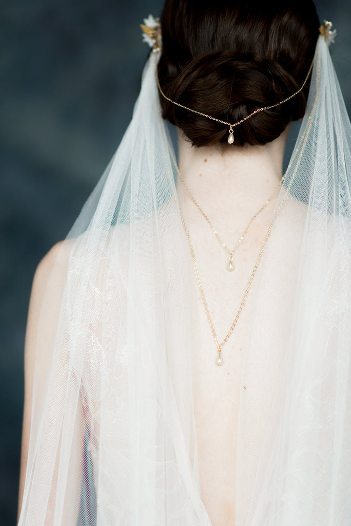 Ivory Draped Back Soft Tulle Veil with Chains & Flower Combs - Handmade in Toronto - Blair Nadeau Millinery - Whitney Heard Photography