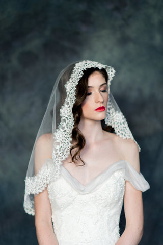 Ivory Lace Trimmed Spanish Lace Mantilla Bridal Veil - Handmade in Toronto - Blair Nadeau Millinery - Whitney Heard Photography