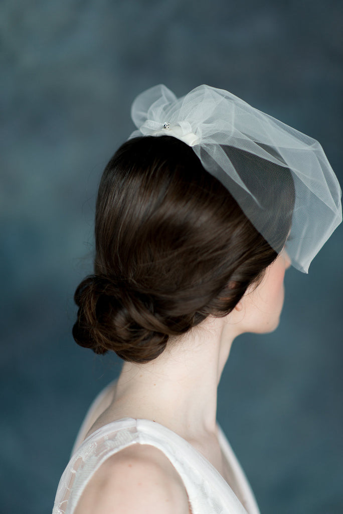 Ivory Tulle Blusher Mini Veil - Handmade in Toronto - Blair Nadeau Millinery - Whitney Heard Photography