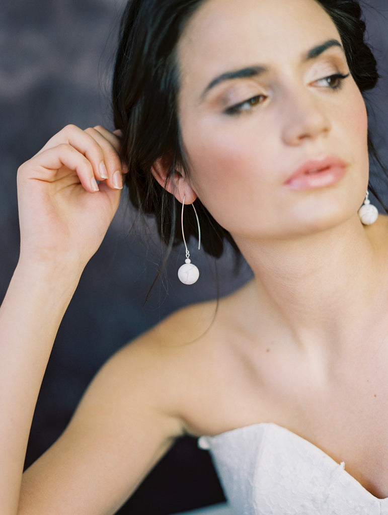 White Marble Modern Bridal Earrings - Handmade in Toronto Canada - Blair Nadeau Bridal Adornments - Whitney Heard Photography