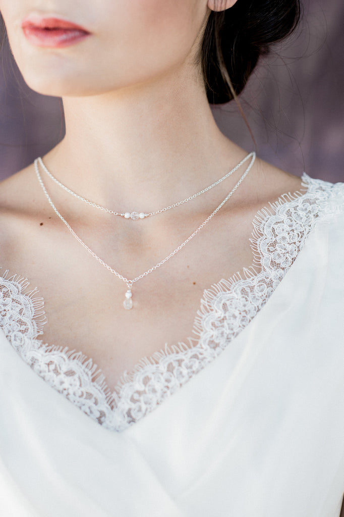 Matte Silver Crystal Y Drop Bridal Necklace - Handmade in Toronto Canada - Blair Nadeau Bridal Adornments - Whitney Heard Photography