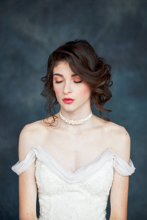 Beaded Crystal & Pearl Velvet Bridal Choker - Handmade in Toronto Canada - Blair Nadeau Millinery - Whitney Heard Photography