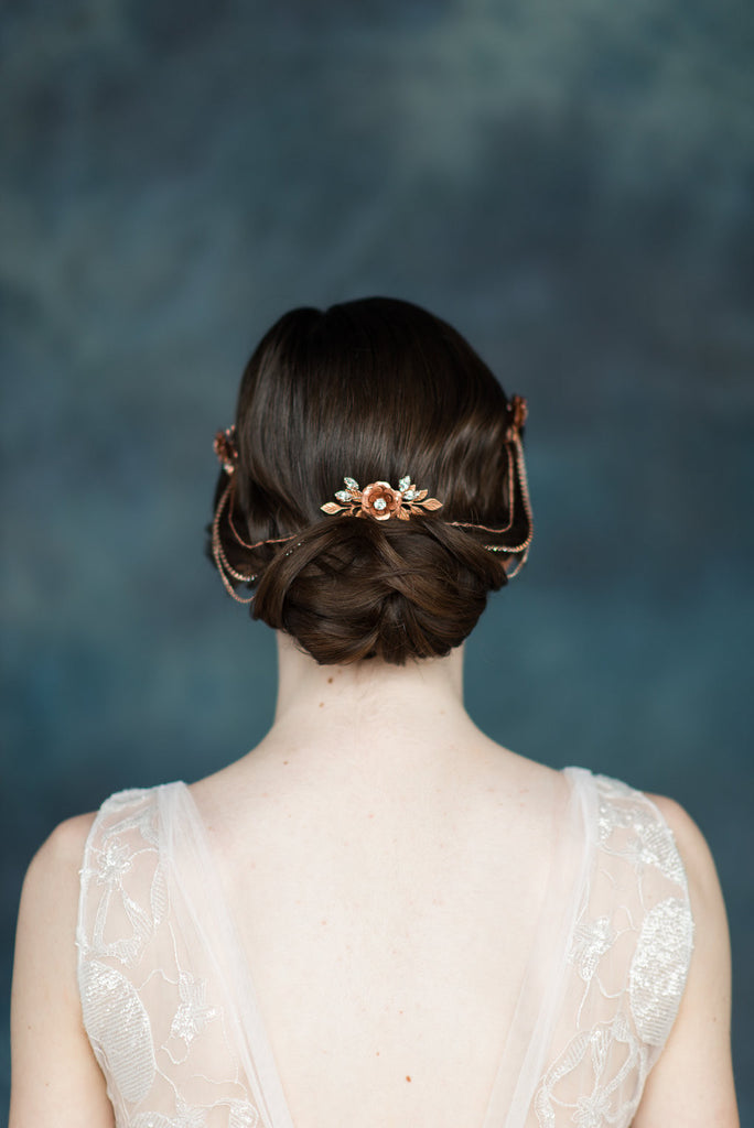 Antique Rose Flower Leaf Bridal Hair Chain - Handmade in Toronto - Blair Nadeau Millinery - Whitney Heard Photography