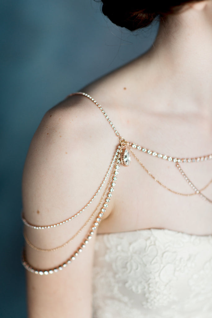 Rose Gold Crystal Shoulder Necklace - Handmade in Toronto - Blair Nadeau Millinery - Whitney Heard Photography