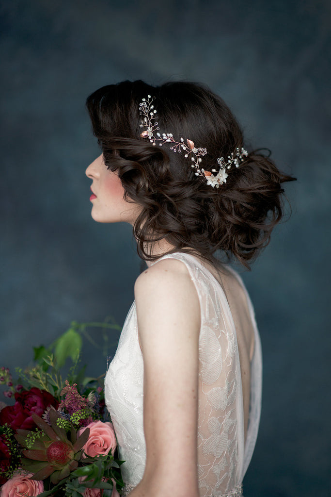 Rose Gold & Ivory Pearl & Crystal Flower Hair Vine  - Handmade in Toronto - Blair Nadeau Millinery