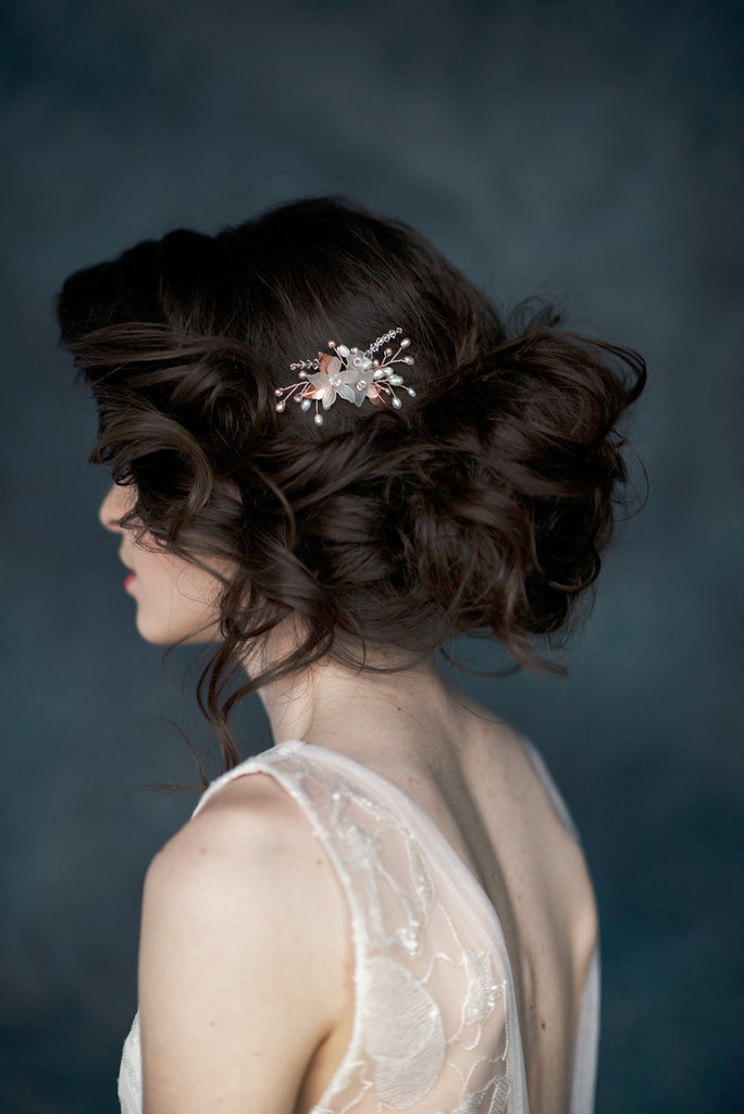 Rose Gold Crystal Flower Bridal Hair Comb - Handmade in Toronto - Blair Nadeau Millinery - Whitney Heard Photography