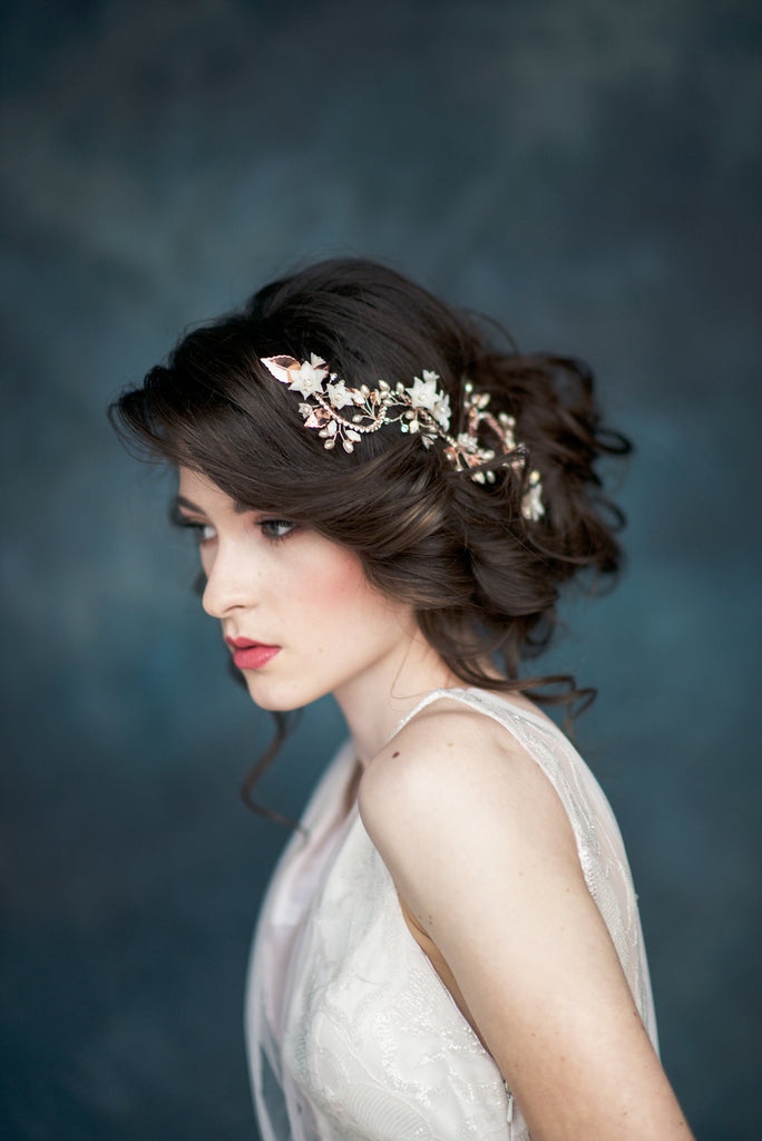 Rose Gold Crystal Flower Bridal Hair Vine - Handmade in Toronto - Blair Nadeau Millinery - Whitney Heard Photography