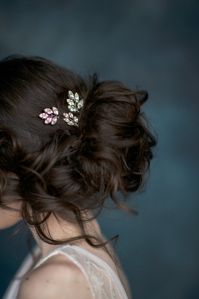 Rose Gold Crystal Leaf Bridal Hair Pins - Handmade in Toronto - Blair Nadeau Millinery - Whitney Heard Photography