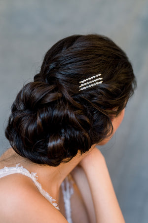 Gold Vintage Freshwater Pearl Bridal Bobby Pin Headpiece Set - Made in Toronto Ontario Canada - Blair Nadeau Bridal - Whitney Heard Photography