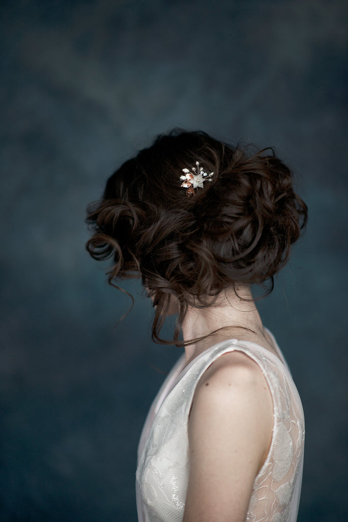 Rose Gold Ivory Flower Hair Pin - Handmade in Toronto - Blair Nadeau Millinery - Whitney Heard Photography