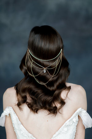 Rose Gold Crystal Hair Chain Hair Jewelry - Handmade in Toronto - Blair Nadeau Millinery - Whitney Heard Photography