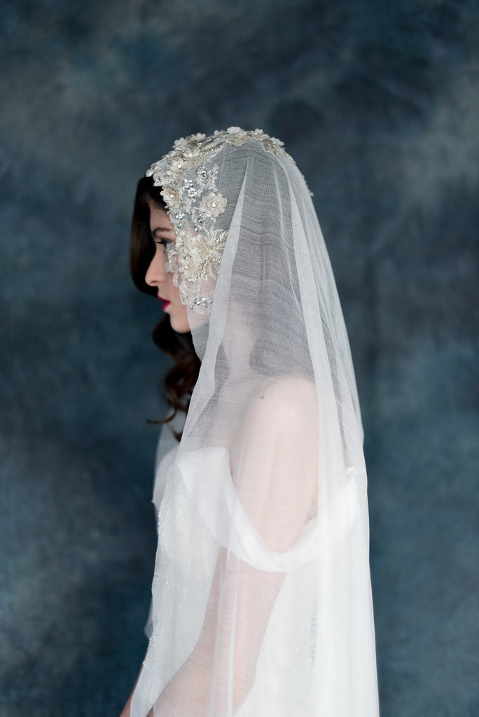 Silk Tulle Champagne Lace Beaded Mantilla Wedding Veil - Handmade in Toronto - Blair Nadeau Millinery - Whitney Heard Photography