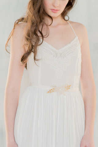 Gold Silk Flower Bridal Dress Sash - Handmade In Toronto Canada - Blair Nadeau Millinery - Whitney Heard Photography