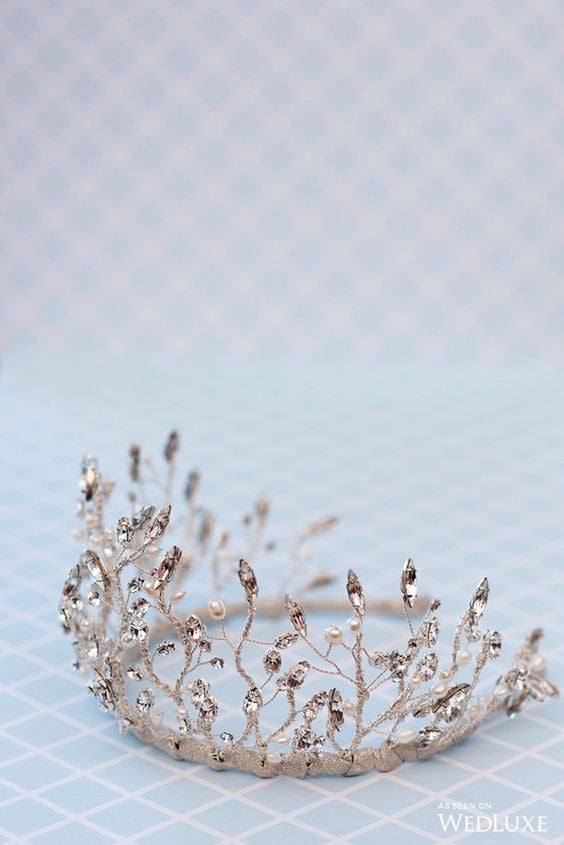 Silver Crystal Twig Crown - Handmade in Toronto Canada - Blair Nadeau Millinery - As Seen in Wedluxe - 5ive15ifteen Photography