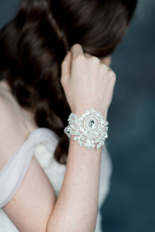 Ivory & Silver Crystal Beaded Lace Bridal Cuff - Handmade in Toronto - Blair Nadeau Millinery - Whitney Heard Photography
