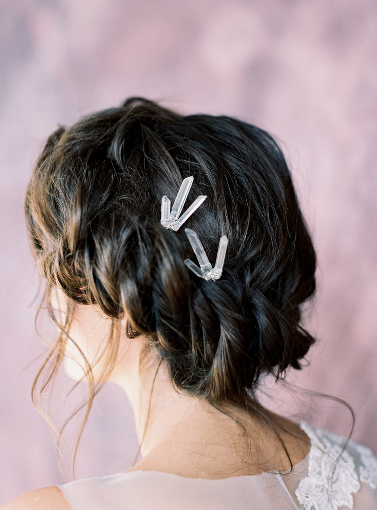 Modern Raw Quartz Crystal Cluster Hair Pins - Handmade in Toronto Canada - Blair Nadeau Bridal Adornments - Whitney Heard Photography