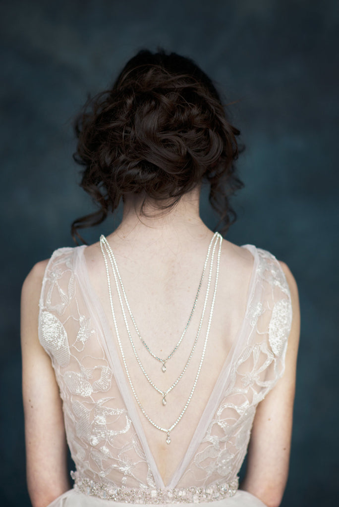 Silver Crystal Teardrop Back Necklace - Handmade in Toronto - Blair Nadeau Millinery - Whitney Heard Photography