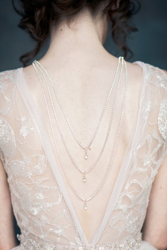 Rose Gold Crystal Teardrop Back Necklace - Handmade in Toronto - Blair Nadeau Millinery - Whitney Heard Photography