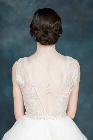 Silver Crystal Swarovski Flower Bridal Back Necklace - Handmade in Toronto - Blair Nadeau Millinery - Whitney Heard Photography