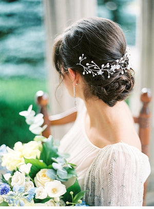 Silver Pearl & Crystal Bridal Hair Vine - Handmade in Toronto - Blair Nadeau Millinery - Photography by Caileigh