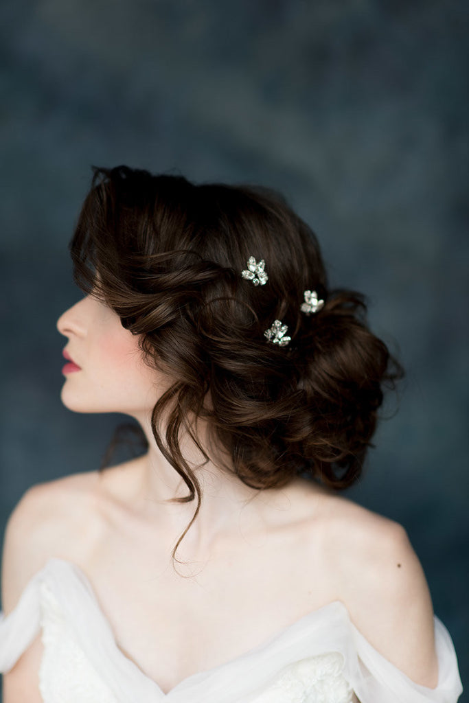 Silver Crystal Leaf Bridal Hair Pins - Made in Toronto Canada - Blair Nadeau Millinery - Whitney Heard Photography
