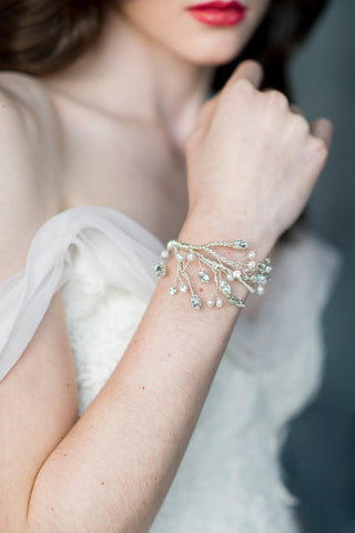 Crystal Pearl and Twig Bridal Wedding Bracelet Cuff -  Handmade in Toronto - Blair Nadeau Millinery - Whitney Heard Photography