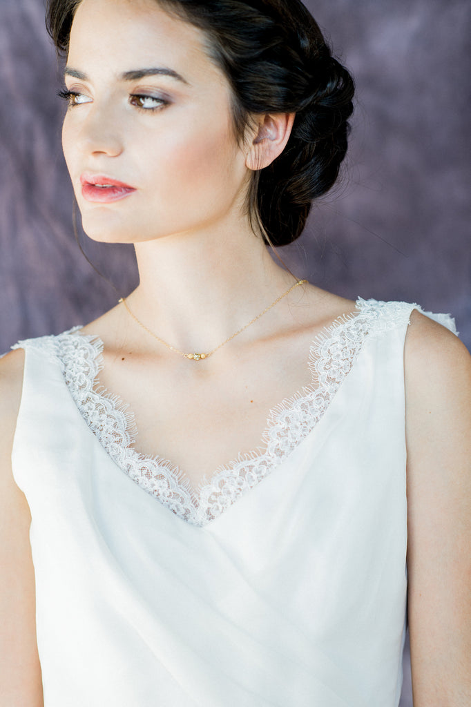 Gold Beaded Crystal Bridal Back Necklace - Handmade in Toronto Canada - Blair  Nadeau Bridal Adornments - Whitney Heard Photography