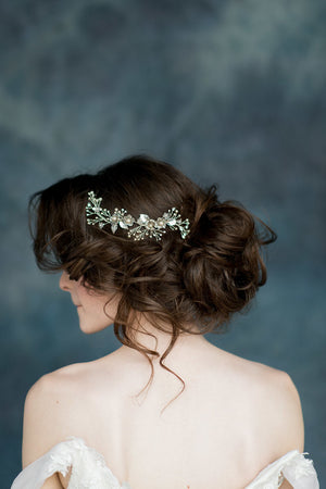 Silver Flower Crystal Bridal Hair Vine - Handmade in Toronto Canada - Blair Nadeau Millinery