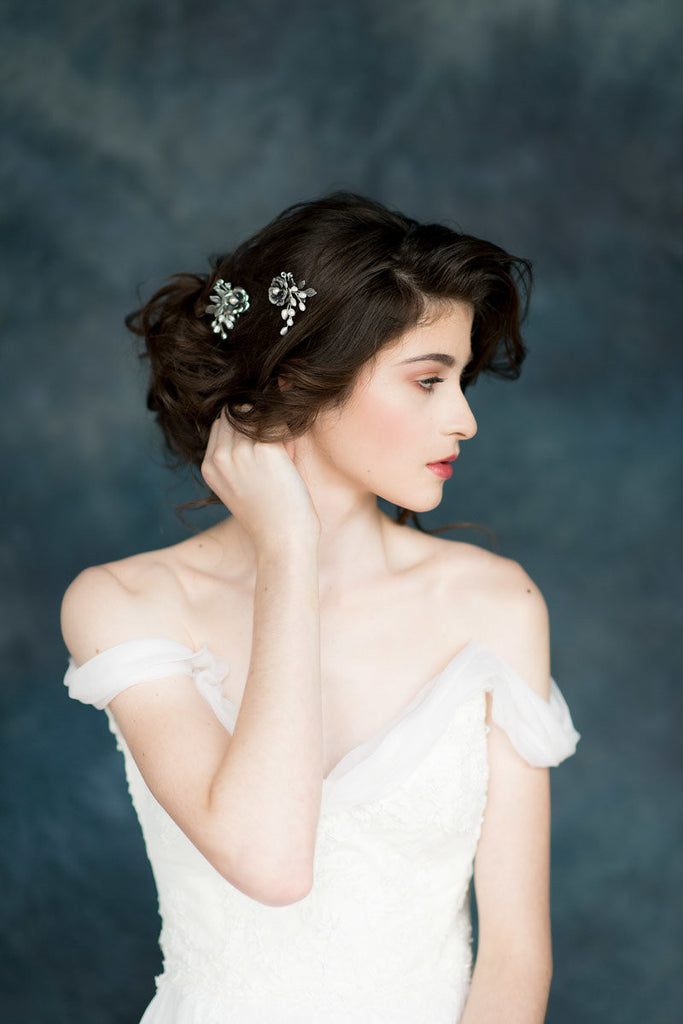 Antique Silver Flower Bridal Hair Pin Set - Handmade in Toronto Canada - Blair Nadeau Millinery - Whitney Heard Photography