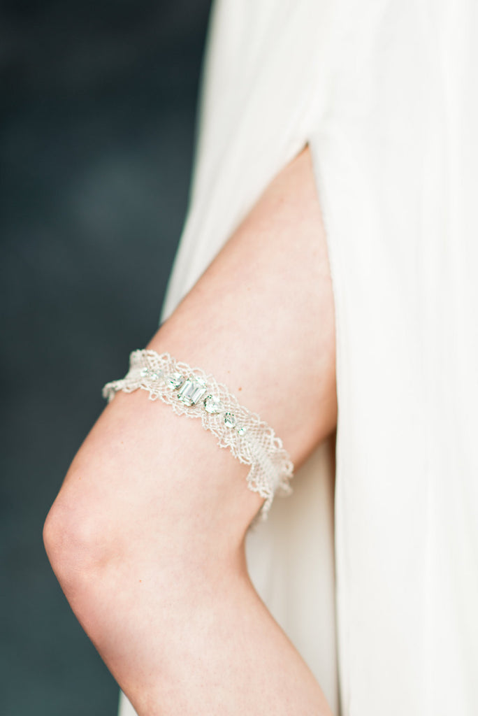 Silver Ruffle Crystal Beaded Bridal Garter - Handmade in Toronto - Blair Nadeau Millinery - Whitney Heard Photography