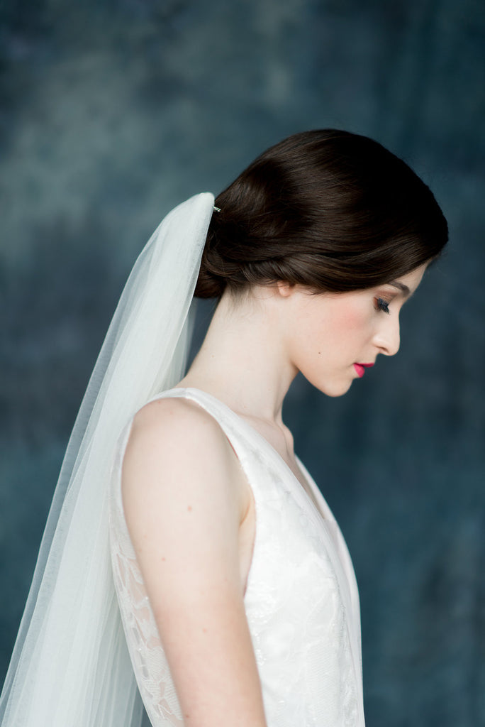 Ivory Tulle Cathedral Bridal Veil - Handmade in Toronto - Blair Nadeau Millinery - Whitney Heard Photography