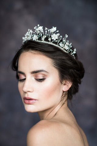 Silver Floral Vine Bridal Crown - Handmade in Toronto Canada - Blair Nadeau Bridal Adornments - Whitney Heard Photography