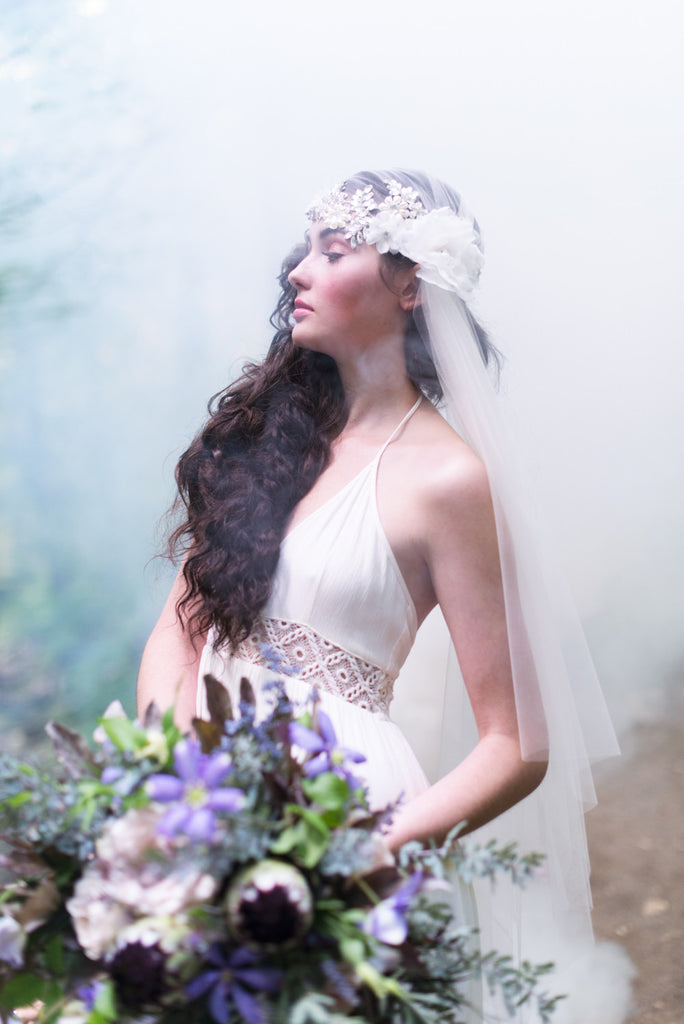 Vintage Inspired Crystal Juliet Cap Veil - Handmade in Toronto Canada - Blair Nadeau Millinery - Whitney Heard Photography