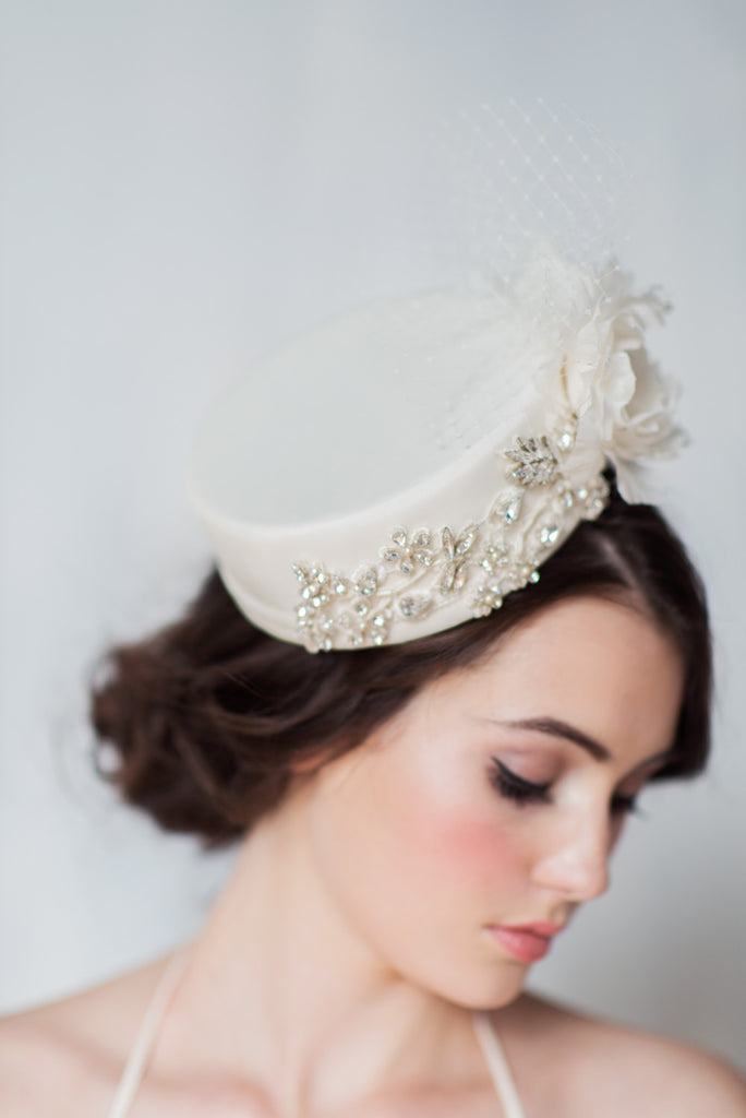 Ivory Silk Pillbox Wedding Hat - Handmade in Toronto Canada - Blair Nadeau Millinery - Whitney Heard Photography