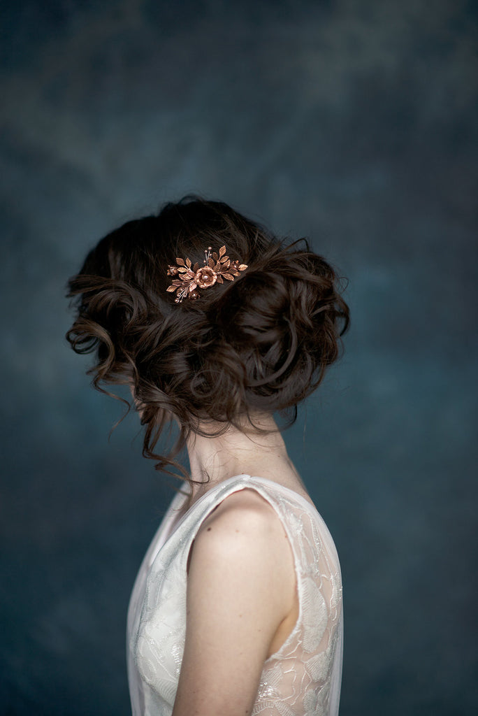 Antique Rose Gold Pearl Flower Leaf Bridal Hair Comb - Handmade in Toronto Canada - Blair Nadeau Millinery - Whitney Heard Photography